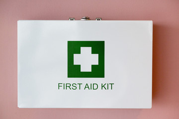 Close-up of a first aid kit