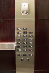 Close-up of control panel of an elevator