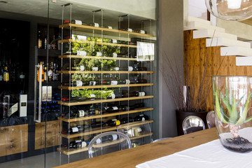 Interiors of a room with wine rack