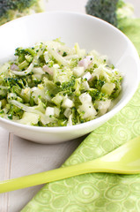 Green chopped salad with broccoli and cucumber