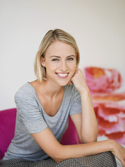 Portrait of a smiling woman posing