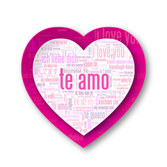 """TE AMO"" (corazón amor te quiero tarjeta rosa nube de palabras)"