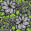 Elegant seamless pattern with  flowers on green background