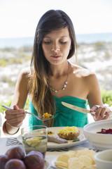 Woman enjoying lunch