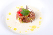 Fresh Tuna tartare served in coconut sauce