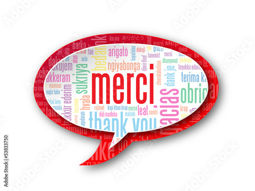 "Carte ""MERCI"" (message icône bulle joie thank you danke gracias)"