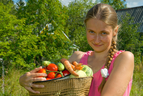 Modest young woman-farmer
