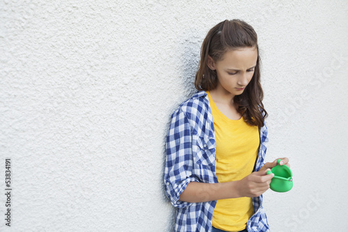 Girl looking at an empty purse