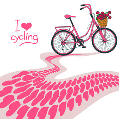 Illustration of bicycle and heart track