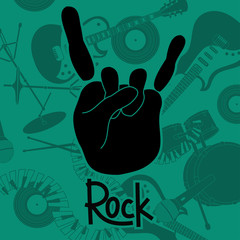 Background with rock and roll sign