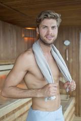 Portrait of a man in a sauna