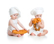 Little bakers babies boy and girl isolated