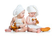 funny cooks babies boy and girl