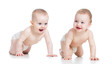 Smiling babies girl and boy crawling on floor
