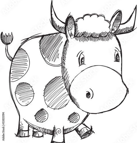 Cow Sketch Doodle Vector Illustration Art