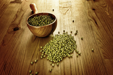 Soybeans in a wooden spoon