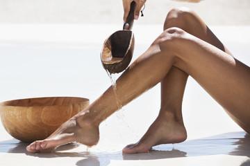 Woman bathing on the beach