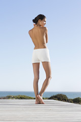 Rear view of a topless woman standing on the beach