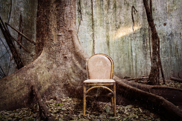 the tree, the old chair and the ruined wall - Grunge textured
