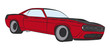 Coloured muscle car drawing
