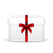 Vector gift box with red ribbon