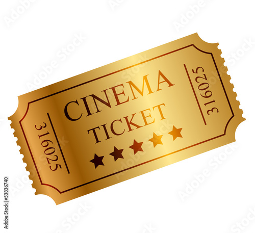 Vector illustration of gold ticket