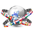 globe with 28 european union countries and flags