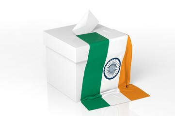 Ballot box with the flag of India
