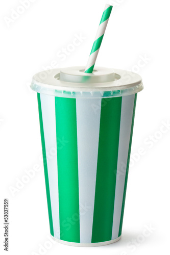 Green striped cardboard cup with a straw