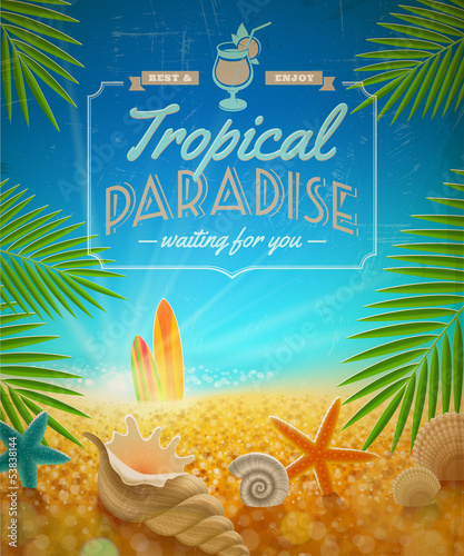 Vacation and summer holidays retro vector design