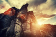 dramatic rock and sun