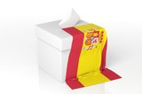 Ballot box with the flag of Spain
