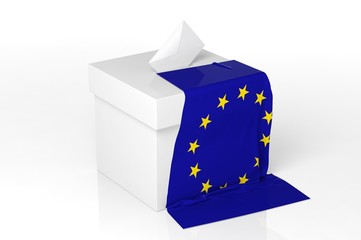 Ballot box with the flag of Europe