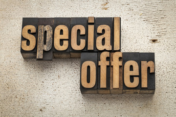 special offer sign in wood type