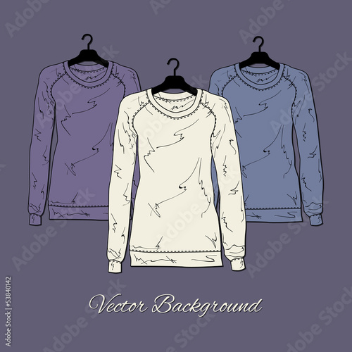 Vector illustration of women's sweaters