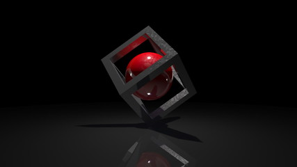 Red ball in a cube. abstract rotation