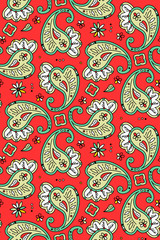 Seamless paisley pattern, pixel aligned, 2 tiles here