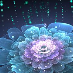 violet fractal flower with droplets of water