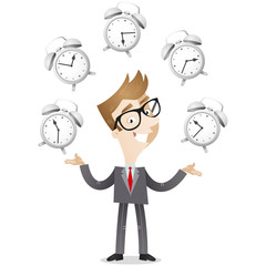 Businessman, juggling, alarm clocks, time management