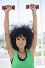 Portrait of a woman exercising with dumbbells