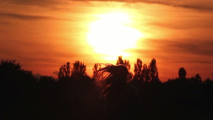 silhouette of a girl walking into the sunset