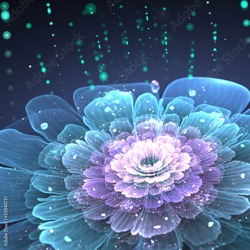 violet fractal flower with droplets of water