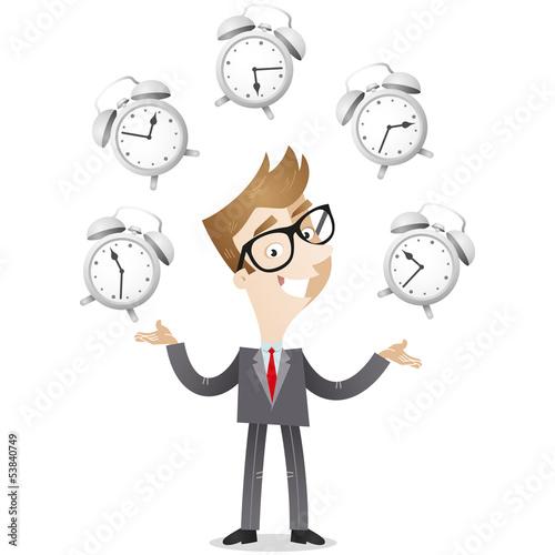 Businessman, juggling, alarm clocks, time management