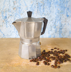 italian coffeemaker / espresso machine, with fresh coffee beans