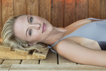 Portrait of a beautiful resting in a sauna