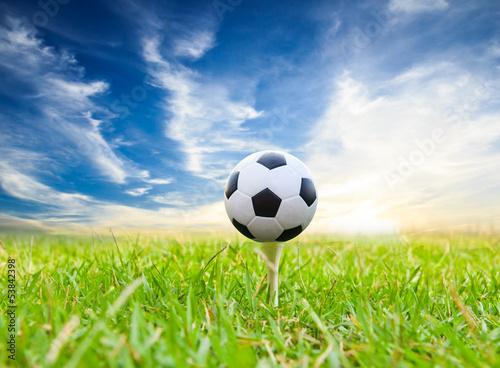 soccer ball on golf tee