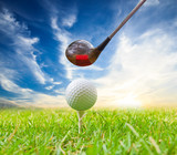 driver hit golf ball on tee
