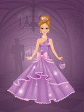 Cute princess in castle waiting for the prince.