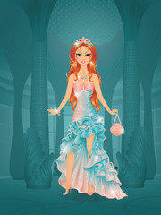 Cute princess in castle wearing mermaid dress.