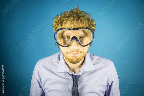 business man with diving mask